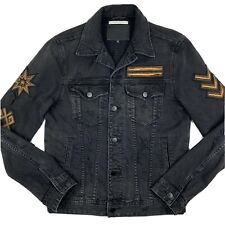 GUESS Men's Small Dillon Onyx Black Fade Distressed Patch Denim Jacket