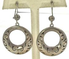 Design Round dangle ladies Earrings Vintage Sterling Silver Mexico Shadowbox