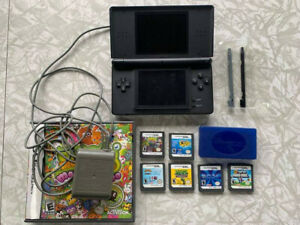Nintendo DS Lite Blue Handheld System Console Bundle Lot w/ 6 Games & Charger