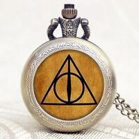 Movie Harry Potter Luna Deathly Hallows Triangle Necklace Charm Pocket Watch A