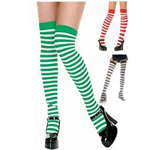 "22"" Women Girl Opaque Striped Long Warm extra stretch Stockings Knee High Socks"