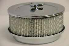 """6 3/8"""" x 3 7/8"""" Chrome 4 BBL Round Air Cleaner Domed Top Chevy SBC 350 BBC 454"""