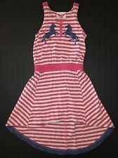 Paper wings Organic Cotton pink navy stripe mirror horses hi-lo tank dress 12/10
