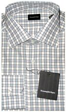 $425 NEW ERMENEGILDO ZEGNA WHITE LIGHT BLUE BOX GRID BROWN DRESS SHIRT 43 17