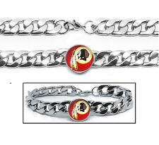 Washington Redskins Stainless Wide 12mm Womens Mens Link Chain Bracelet Gift