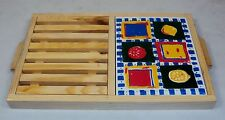 Wooden Bread Cutting Board w/Crumb Tray, Built-in Porcelain Trivet, & Handles