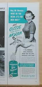 1951 magazine ad for Mennen Deodorant - Gussie (Lacy Pants) Moran tennis player