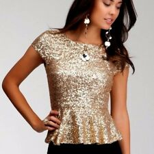 NWT bebe gold sequin peplum round neck sparkly stretchy dress top M Medium 6 8