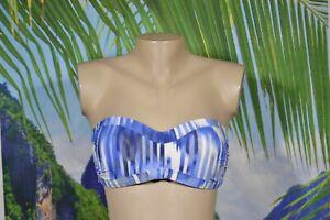 ATHLETA Blue White Gray Striped Strapless Bikini Swim Top Medium Wireless Padded