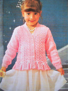 "Baby Girls Lacy Peplum Cardigan Jacket KNITTING PATTERN DK 20 -30"" Party wedding"