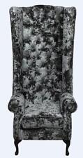 Chesterfield Soho Queen Anne dossier haut aile chaise Lustro Flint Gris Velours