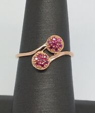 14K Rose Gold Natural Ruby Bypass Style Ring