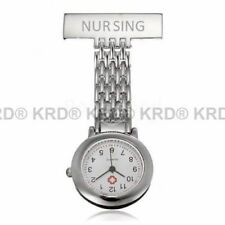 Stainless Steel Nurse Watch Brooch Tunic Fob Watches With FREE BATTERY Gift UK