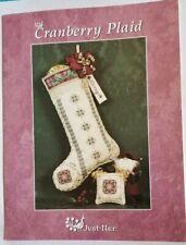 Just Nan Cranberry Plaid Cross Stitch Chart w Beads Christmas Stocking