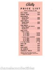 BALLY BINGO PINBALL MACHINE & ARCADE GAME PRICE LIST 11/25/58 CARNIVAL QUEEN PIN
