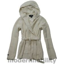 NEW ABERCROMBIE GIRLS CABLE KNIT HOODIE SWEATER WRAP SHIRT BEIGE MERINO WOOL XL