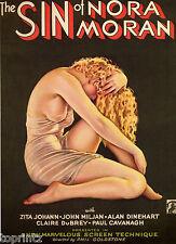 old film movie noir vintage print poster sin of  NORA MORAN A1 size canvas