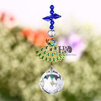 Hanging Crystal Suncatcher Prisms Rainbow Fengshui Peacock Window Pendants Decor
