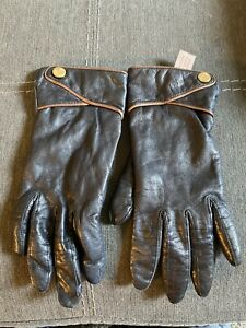 Vintage Anne Klein Navy Leather Gloves Sz 6.5 W/Lion Buttons 100% Cashmere Lined