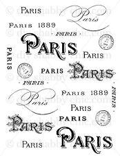 A6 CRAFT ART FURNITURE PARIS STICKER DECALS FRENCH IMAGE TRANSFER VINTAGE LABEL