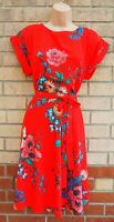 DOROTHY PERKINS BRIGHT RED FLORAL BLUE BELTED FLIPPY SKATER A LINE MIDI DRESS 14