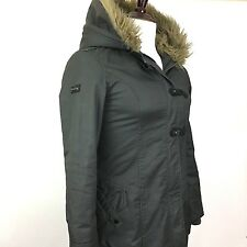 Women's Oakley Medium Toggle Long Winter Snow Shearling Fur Hood Duffel Coat
