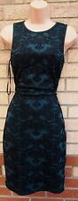 PRIMARK GREEN BLACK PAISLEY BAROQUE  VELVET BODYCON BANDAGE TUBE DRESS 10 S