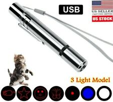 Usb Laser Pointer Rechargeable Pen 7 in 1 Cat Pet Training Toy Red Uv Flashlight