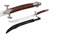 "NEW! 30"" Brown Wood Handle Scimitar Sword Curved Shamshir Middle East Blade"