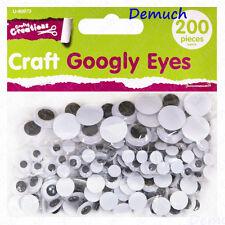 New 200 Craft Googly Wiggly Wobbly Eyes Mixed Sizes Art Craft Decoration UK ✔