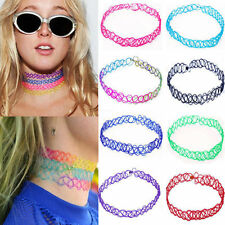 12pcs/Lot 80s 90s Punk Stretch Tattoo Lace Choker Necklace Retro Gothic Elastic