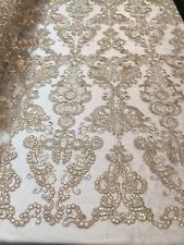 Lace Fabric - Flower Mesh Dress Champagne For Embroidery Bridal Veil By The yard