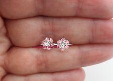 925 Sterling Silver Flower Light Rose Pink Clear Crystal Stud Earring Girl Women
