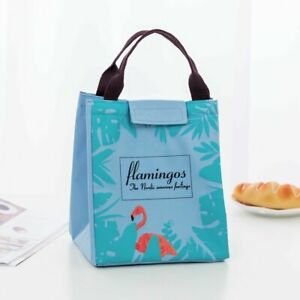 Flamingo Travel Insulated Canvas Cooler Picnic Lunch Bag Thermal Food Totes Chic
