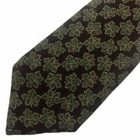 Giorgio Armani Cravatte Classic Tie Silk Floral Leaf Pattern Office Green