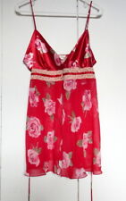California Dynasty Satin Rose Pattern Lace Trim Camisole/Chemise Size M