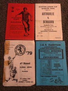 4 X SCOTTISH JUNIOR FOOTBALL PROGRAMMES-1980s ARTHURLIE/BENBURB/GLENBOIG/DARVEL
