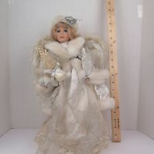 """Vintage 18"""" Porcelain Angel With Feather Wings And Stand"""