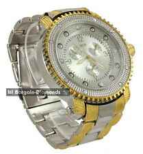 big mens dress sports hip hop ice out 2-tone watch metal bracelet