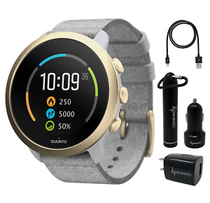 Suunto 3 Multisport Pebble White Light Gold Watch with Power Pack Bundle