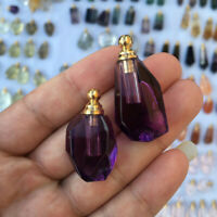 Natural Amethyst Pink Crystal Stone Perfume Handcarved Wish Mini Bottle Pendant