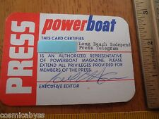 1970's Powerboat racing Media Pass pass signed by Editor magazine