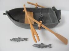 Playmobil pirates ensembles extra: gris bateau à rames avec poissons et canne à pêche Nouveau