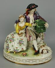 "Antique Dresden Volkstedt figurine ""Couple with Cage"" WorldWide"