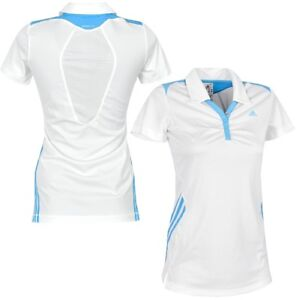 Adidas Climacool Ladies Polo Shirt Dress Tennis Golf Sport Running 3S White Blue
