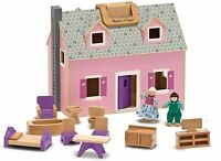 Melissa & Doug Fold & Go Wooden Mini Dollhouse Dolls House 11 Piece Playset