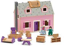 Melissa & Doug Fold & Go Wooden Mini Dollhouse Dolls House 11 Piece Playset