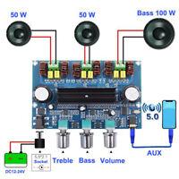 100W+50W*2 DC12~24V Wireless 5.0 High Power Amplifier Board 2.1 Digital  Hw