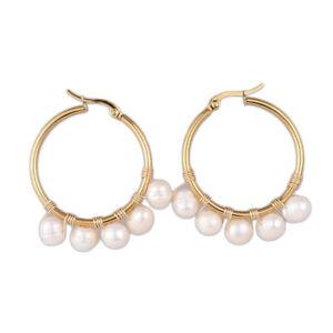 Hoop Earrings Natural Pearl Gold Plated Stainless Steel Hoop Gold White P364