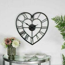 Wall Clock Love Heart Metal Skeleton Vintage Roman Numerals Decor Black 58cm